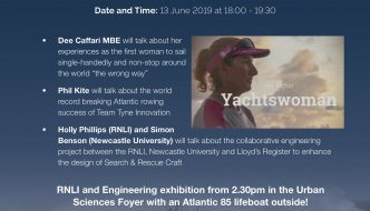 """Free RNLI Public Lecture """" Challenging the Oceans"""" in Newcastle on June 13th 2019"""